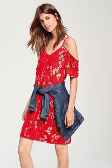 Next Cold Shoulder Floral Dress - Tall