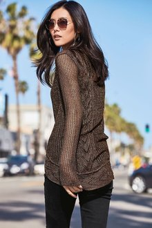 Next Pointelle Sparkle Cable Sweater
