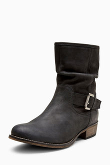 Next Leather Buckle Slouch Boots