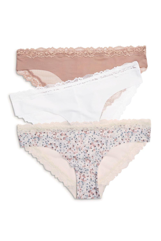 12ee6a9a164aa Next No VPL Lace Back Brazilian Briefs Three Pack Online   Shop EziBuy