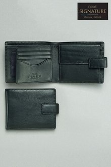 Next Signature Italian Leather Extra Capacity Popper Wallet - 185317
