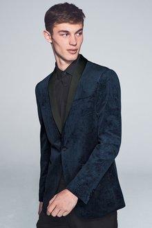 Next Printed Velvet Jacket Skinny Fit