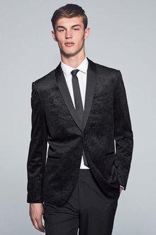 Next Printed Velvet Jacket Slim Fit