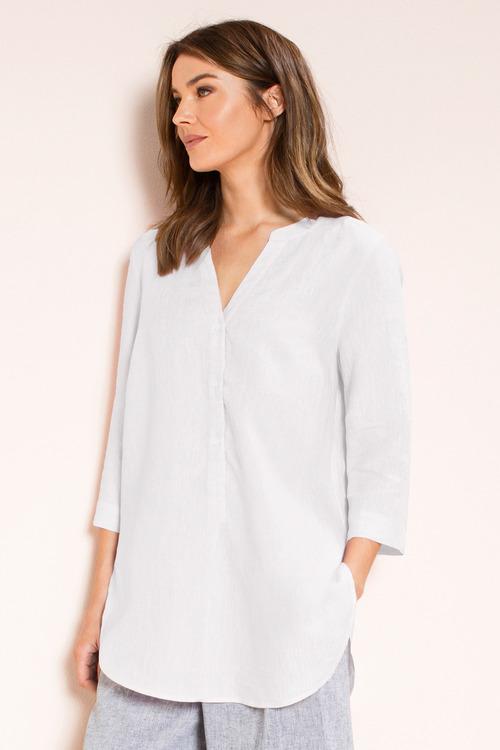 Capture Linen 1/2 Placket Tab Sleeve Shirt