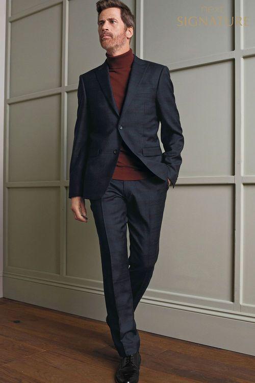 Next Signature Check Slim Fit Suit: Trousers