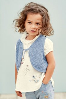 Next Pointelle Knit Waistcoat And Embroidered Blouse Set (3mths-6yrs)
