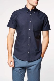 Next Short Sleeve Printed Dot Oxford Shirt
