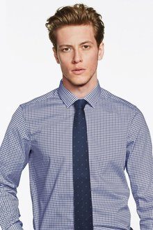 Next Gingham Slim Fit Shirt And Tie Set