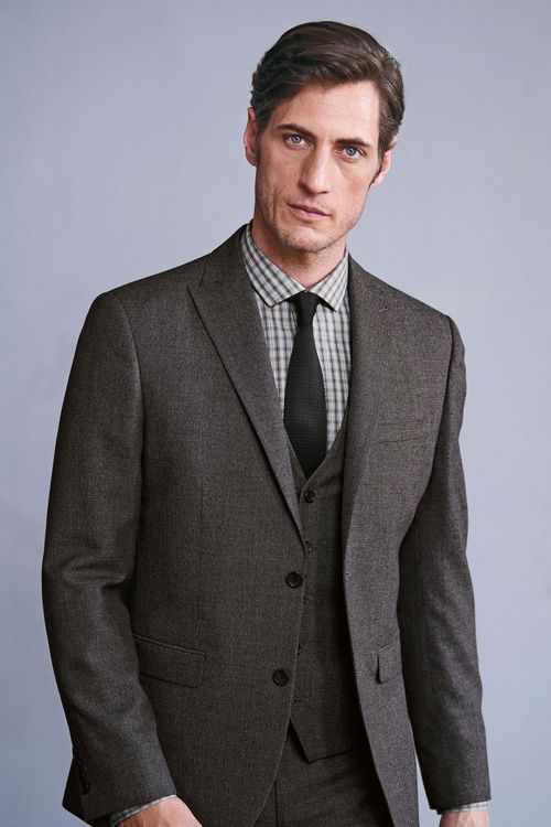 Next Textured Birdseye Suit: Jacket Slim Fit