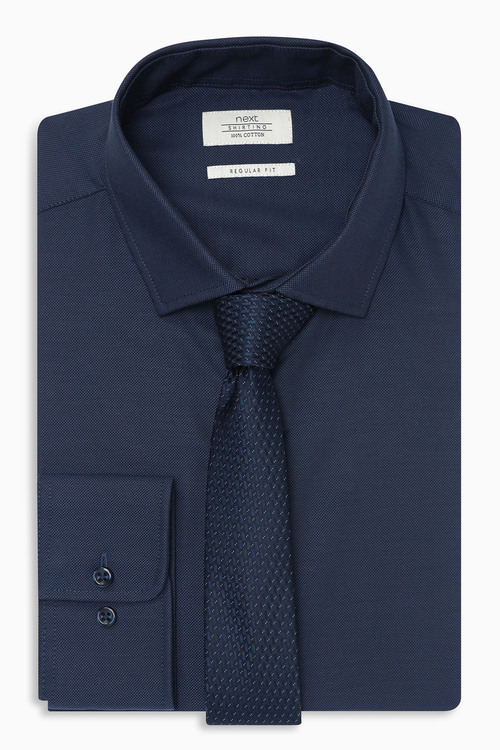Next Textured Tonic Shirt And Tie Set Regular Fit Single Cuff