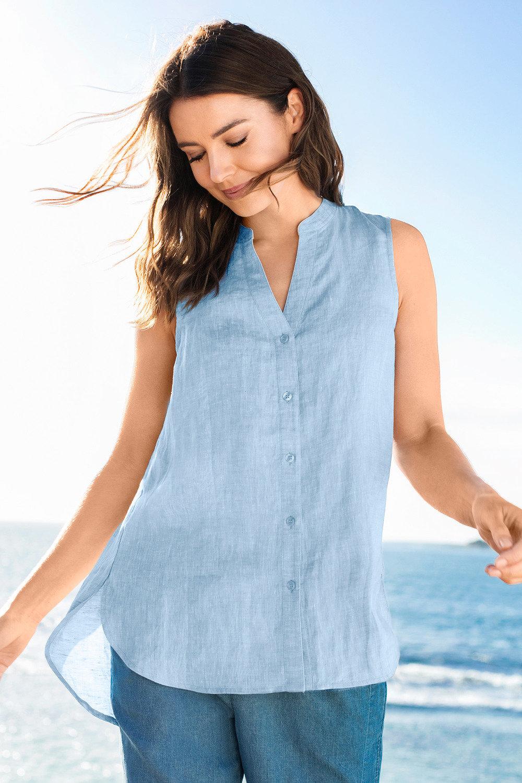 decc838579df4 Capture Sleeveless Button Through Linen Shirt Online