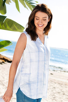 Capture Sleeveless Button Through Linen Shirt - 186396