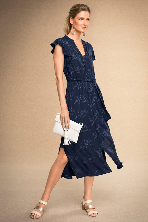 Grace Hill Ruffle Sleeve Broidery Dress