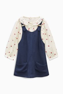 Next Floral Print Shirt And Navy Pinafore Set (3mths-6yrs)