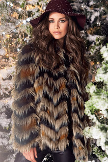 Kaleidoscope Faux Fur Coat