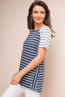 Capture Mixed Stripe Short Sleeve Linen Tee