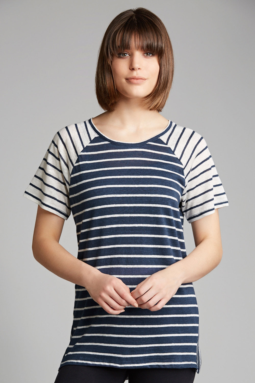 5d52e41dc1ae38 Capture Mixed Stripe Short Sleeve Linen Tee Online | Shop EziBuy