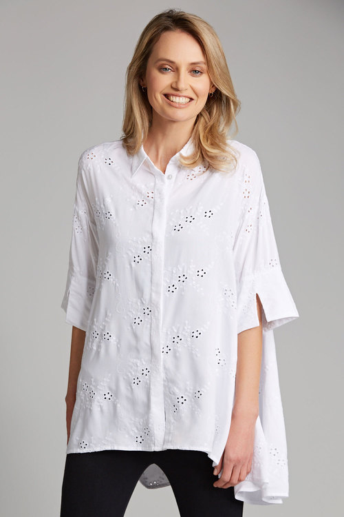 Grace Hill Broderie Swing Shirt