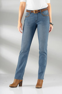 Capture European Faux Leather Trim Jeans