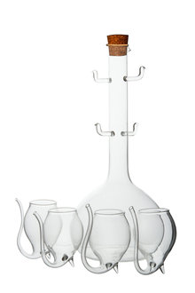 Davis and Waddell Port Flask and Sippers Set of 5