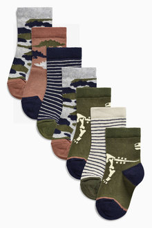 Next Camouflage Dinosaur Socks Seven Pack (Younger Boys)