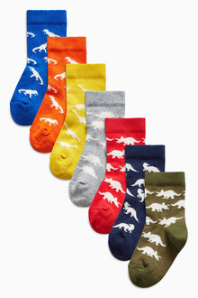 Next Bright Dino Socks Seven Pack (Younger Boys)