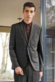 Next Textured Check Slim Fit Suit: Jacket