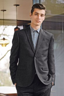 Next Textured Stripe Skinny Fit Suit: Jacket