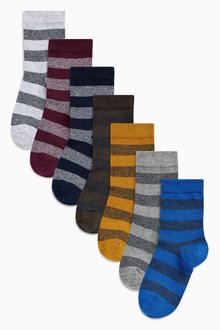 Next Rugby Stripe Socks Seven Pack (Older Boys)