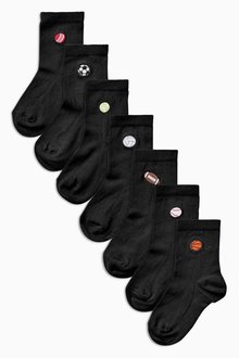 Next Sports Embroidery Socks Seven Pack (Older Boys)