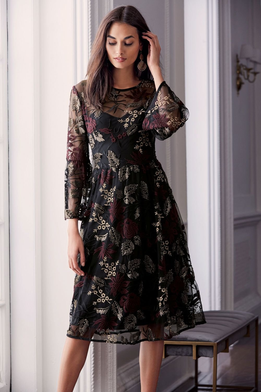 Next Embroidered Flute Sleeve Dress - Petite Online | Shop EziBuy