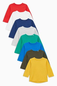 Next Long Sleeve Essential T-Shirts Eight Pack (3mths-6yrs) - 188613
