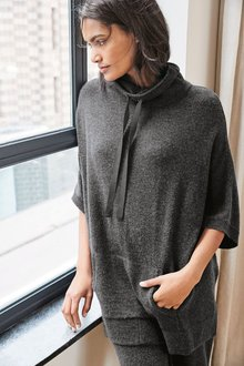 Next Premium Knitted Longline Poncho With Cashmere