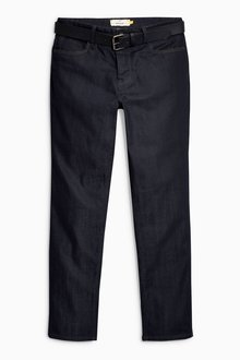 Next Coated Belted Jeans - Straight Fit