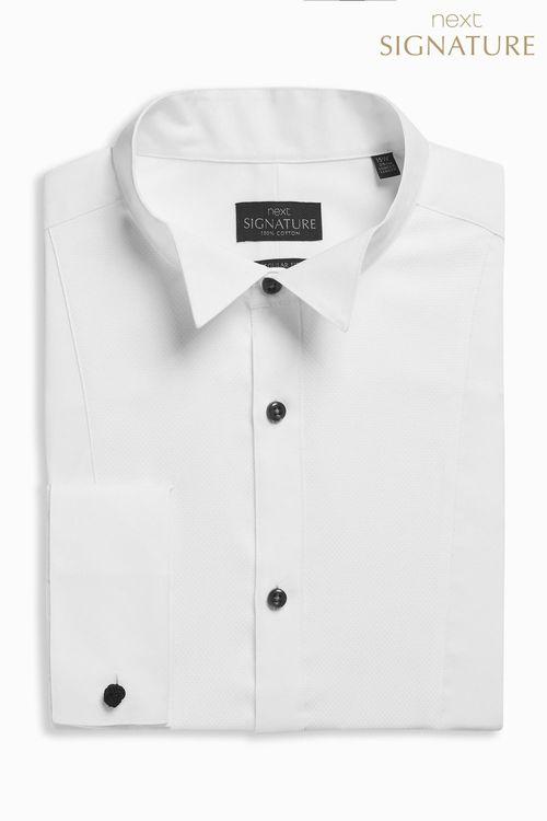 Next Signature Wing Collar Regular Fit Double Cuff Shirt