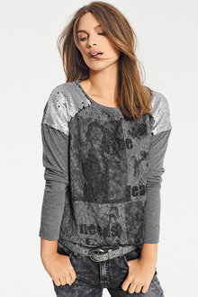 Heine Printed Lace Front Top