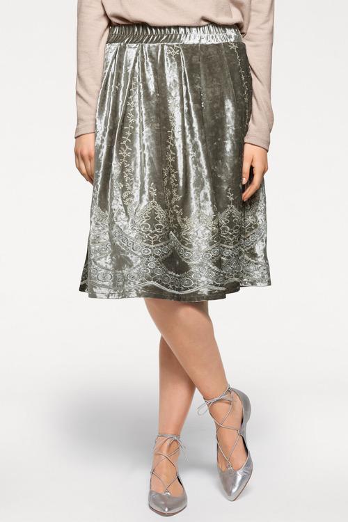 Heine Embroidered Velvet Skirt