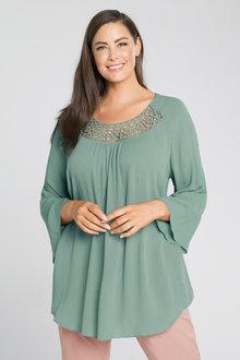 Plus Size - Sara Crinkle Crochet Tunic