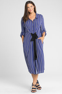 Plus Size - Sara Waist Tie Shirt Dress