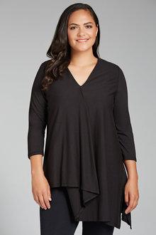 Plus Size - Sara Pleat Asymmetric Tunic