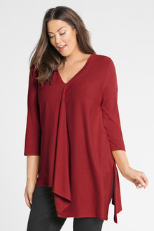 Plus Size - Sara Pleat Asymmetric Tunic