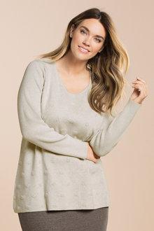 Plus Size - Sara Jacquard Spot Jumper