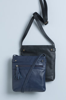 Leather Cross Body Zip Front Bag