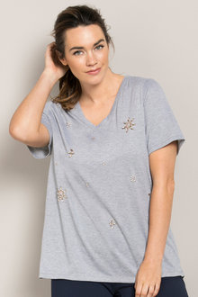 Plus Size - Sara Embellished Duty Tee