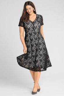 Plus Size - Sara Lace Contrast Lining Dress