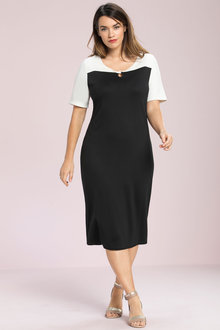 Plus Size - Sara Ponte Colour Block Dress