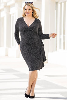 Plus Size - Sara Wrap Knit Ruffle Dress