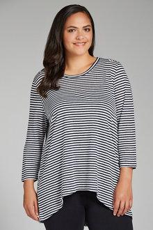 Plus Size - Sara Stripe Linen Tee