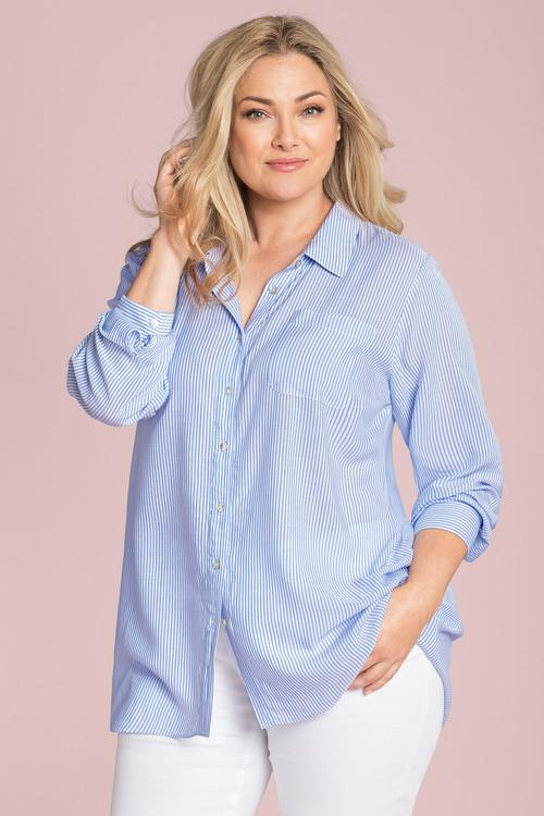 Plus Size - Sara Thin Stripe Shirt