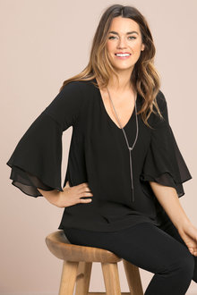 Plus Size - Sara Double Layer Flute Sleeve Tunic
